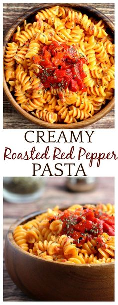 This Creamy Roasted Red Pepper Pasta recipe takes only 20 minutes! It's a great way to use up those garden peppers, but you can also use jarred roasted red peppers! This is a vegetarian recipe as written, but you can add a protein to make it an even heartier meal! Use gluten free pasta if needed.