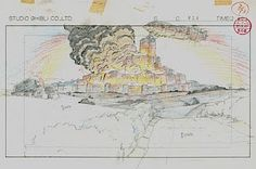Film: Castle In The Sky ===== Layout Design: Disaster At The Military Base ===== Production Company: Studio Ghibli ===== Director: Hayao Miyazaki ===== Producer: Isao Takahata ===== Written by: Hayao Miyazaki ===== Distributed by: Toei Company