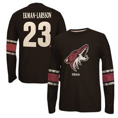 Mens Arizona Coyotes Oliver Ekman-Larsson CCM Black Logo Crew Neck Name & Number Long Sleeve T-Shirt