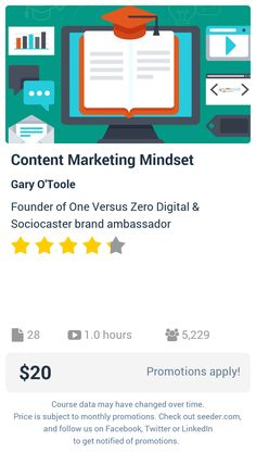 Content Marketing Mindset | Seeder offers perhaps the most dense collection of high quality online courses on the Internet. Over 13,800 courses, monthly discounts up to 92% off, and every course comes with a 30-day money back guarantee.