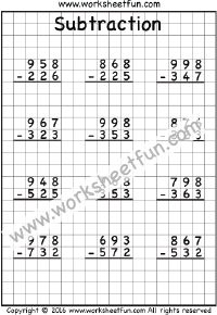 3 Digit Subtraction – No Regrouping – Three Worksheets