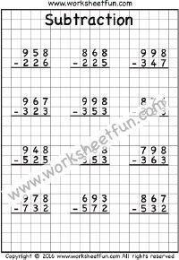 3 Digit Subtraction – No Regrouping – Three Worksheets