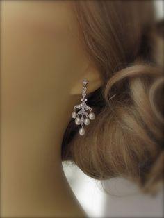 Pearl Wedding Earrings SOLID Sterling Silver by UniqueJewelryLLC