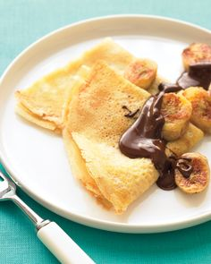 Crepes with Sauteed Bananas and Chocolate: Top these crepes with warm, sweet, buttery bananas and a drizzle of dark chocolate, and you have an elegant dessert.
