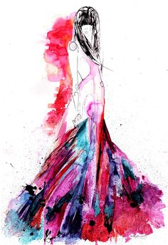 Fashion illustration with watercolours