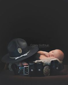 my aunt should have done this with my uncles state trooper uniform!!