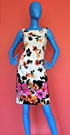 Womens Summer Sheath Fitted Dress Size 8 S M Floral Slimming Floral Sleeveless #DRESSBARN #Sheath #Festive