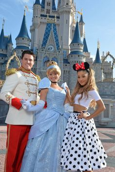 Ariana Grande Celebrates  her 21st Birthday At Walt Disney World with Cinderella and Prince Charming in front of Cinderella's Castle in the Magic Kingdom June 24, 2014 in Lake Buena Vista, Florida