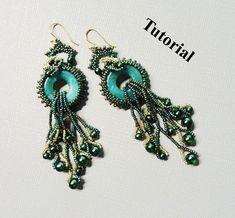 PDF for Green Cascade beadwoven earrings beading pattern tutorial - beaded seed bead jewelry - beadweaving. $5.50, via Etsy.