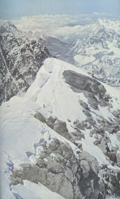 View from halfway up Mount Everest, 1954