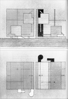 "*""Dilemma House,"" Elevation, Section, and Plan, 1976. Ink and pastel on corrugated cardboard, 9 x 12 in / John Hejduk Architects"