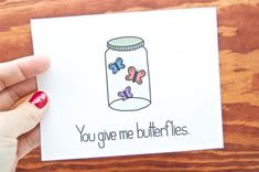 Funny Love Card You Give Me Butterflies. – funny anniversary cards Funny Love Card You Give Me Butterflies. Funny Love Card You Give Me Butterflies. Funny Love Cards, Cute Cards, Love Boyfriend, Boyfriend Gifts, Diy Cards Boyfriend, Handmade Cards For Boyfriend, Valentine Day Cards, Valentines Diy, Drawings For Boyfriend
