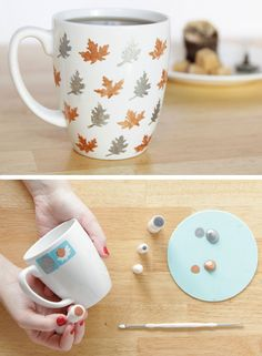 Stenciled Leaf Mug | 35 DIY Fall Decorating Ideas for the Home | Fall Craft Ideas for Adults
