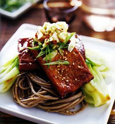 Sesame Soba Noodles With Tofu Steaks Recipe - made this tonight, easy and delicious!