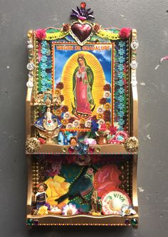 SALE! Take 20% off wih code NEARLYXMAS20 Upcycled Mexican art on wood shadowbox/ Mexican folk art / rainbow/ Virgin Mary Guadalupe / gold bo by TheVirginRose on Etsy https://www.etsy.com/listing/471282650/sale-take-20-off-wih-code-nearlyxmas20