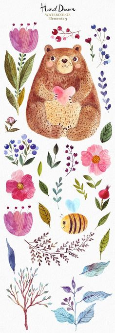 This is a New Big Great Watercolor Collection with forest animals and floral elements. All watercolor elements was hand painted, scanned and carefully prepared to the best use in design. Each element and illustration have individual file with transparent background in high resolution. THE COLLECTION IS CONTAINING OVER 150 DESIGN ELEMENTS: bears, hedgehog, bird, lion, bee, flowers, leaves, brunches, tree, mushrooms, wreath, owl, strawberry, all for the perfect design.