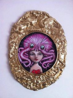 "ANGELO BARILE  ""Pettinameli"", 2016 Oil on rigid paper 25 cm  plus frame.  Show  WOW - Wonderful Wig c/o  Contestarockhair di  Firenze (a cura di Ottavia Starace e Gerlanda di Francia)  http://angelobarile.it/"