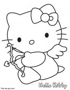 Hello Kitty coloring pages Valentines Day Cupid fargelegge tegninger activities worksheets clipart color games online how to dra...