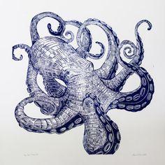 OCTOPUS Hand gesneden hand gedrukte woodblock print