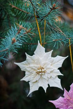 White Poinsettia Ornament