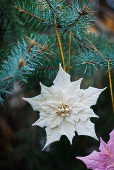 White Poinsettia Ornament