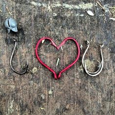 I Love You with fish hooks so cool, could make for a cool card or wedding announcement!