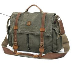 Laptop Army Green Leather & Canvas Messenger Bag  #messenger #Canvasmessengerbags #canvasleatherbag