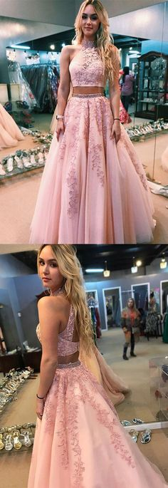 Charming two piece pink long prom dress, prom dress,party dress,high neck pink long prom dress with open back Party Dress Long Party Dress Pink Prom Dress Party Dress Two Piece High Neck Party Dress Prom Dresses Long Prom Dresses Long Pink, Pink Party Dresses, Open Back Prom Dresses, Prom Dresses Two Piece, Prom Dresses For Teens, Prom Dresses 2018, Two Piece Dress, The Dress, Evening Dresses