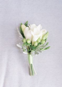 freesia buttonhole