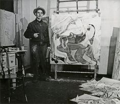 """I don't paint for a living. I paint to live."" —Willem de Kooning, 1975 The Abstract Expressionist artist was born today, April 24, in Rotterdam, Netherlands. #WillemdeKooning #ArtistBirthday #Gagosian _________ Image: Willem de Kooning in his studio on Fourth Avenue, November 1946. Photo by Harry Bowden. Harry Bowden papers, 1922–72, courtesy Archives of American Art, Smithsonian Institution. All artworks © 2017 The Willem de Kooning Foundation/Artists Rights Society (ARS), New York"