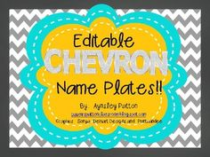 ***Editable in Power Point.  Add student names to these name plates.*****2 Styles included in this set: 1.  Chevron with Ribbon Blossom 2.  Chevron with PendantColors included in each set:  Gray, Light Blue, Raspberry, Green, Yellow, Orange, Purple, Red, Black, Dark BluePrint out the set you like best, or mix the two designs!!