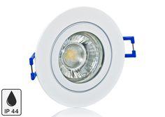 Feuchtraum LED Einbaustrahler Set IP44 Weiß rund mit Marken GU10 LED Spot LC Light 5 Watt 9 SMD
