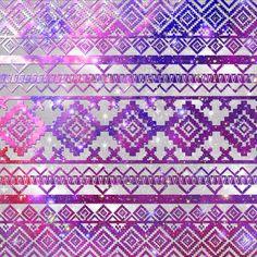 Aztec Tribal Diamond Pattern Pink Nebula Galaxy Space Art Print