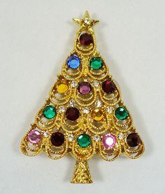 Vintage Signed Eisenberg Ice multi color Rhinestone Christmas Tree Brooch Pin | eBay