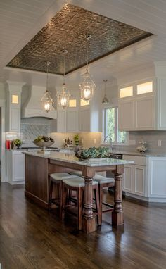 Kitchen renovation This one's lovely. Are these ceilings though? Tips on Dealing with Slugs and Kitchen Ceiling Design, Home Decor Kitchen, Home Kitchens, Kitchen Ceilings, Tin Ceilings, Kitchen Ideas, Küchen Design, Design Case, House Design