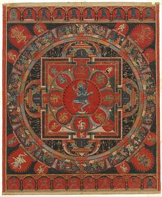 "Hevajra Mandala, 15th century. Tibet. The Metropolitan Museum of Art, New York. Gift of Stephen and Sharon Davies Collection, 2015 (2015.551) | This work is featured in the ""The Arts of Nepal and Tibet: Recent Gifts"" exhibition, on view through January 15, 2017. #AsianArt100"