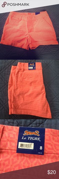 Super cute patterned Le Tigre pink/coral shorts 8 Really cute pair of pink shorts - size 8. Bought this and a greenish colored pair this summer but they don't fit. NWT, great shorts. Le TIGRE Shorts