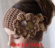 PDF PATTERN. crochet headband earwarmer par threemagicsheep