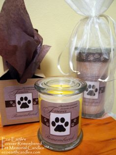 """As animal lovers here at Eco Earth Candles, we know all too well the pain associated with losing a beloved pet. Through the years there were times when friends, family and some of our customers asked us to create a special candle in memory of a beloved pet they had lost.  After many requests, we felt the need to make available a very special soy candle called """"Forever Remembered"""", with the saying """"My Faithful Friend Left Pawprints On My Heart"""" Visit our website for these very special…"""