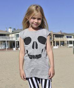 Gray Skull Swing Dress - Toddler & Girls #zulily #zulilyfinds. For my little punk rock girl.