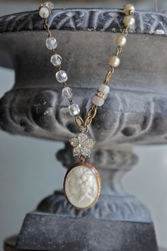 Delila's Time-Vintage assemblage necklace cameo pendant glass cameo rhinestones rosary beads assemblage jewelry - by French Feather Designs.