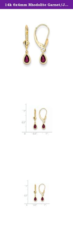 14k 6x4mm Rhodolite Garnet/June Earrings, Gem Ctw.1.1. Attributes Polished 14k Yellow gold Leverback Rhodolite garnet Bezel Pear Product Description Material: Primary - Purity:14K Stone Type 1:Rhodolite Garnet Stone Color 1:Red Stone Quantity 1:2 Length of Item:23.5 mm Stone Weight 1:0.550 ct Charm/Element Length:23 mm Charm/Element Width:5 mm Material: Primary:Gold Stone Shape 1:Pear Stone Size 1:6.00 x 4.00 mm Stone Treatment 1:Not Enhanced Width of Item:4.5 mm Product Type:Jewelry…