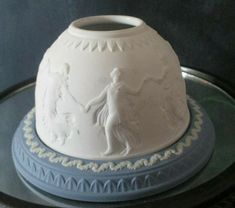 Wedgewood lithophane fairy lamp light candle holder blue and white jasperware in Collectibles, Decorative Collectibles, Candles, Holders Fairy Lamp, Lamp Light, Lamps, Candle Holders, Blue And White, Pottery, Candles, Make It Yourself, Lightbulbs