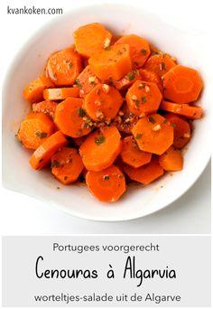 Cenouras à Algarvia – worteltjessalade uit de Algarve – De K van Koken Algarve, Sweet Potato, Carrots, Bbq, Potatoes, Chips, Snacks, Vegetables, Food