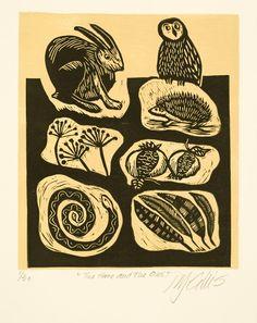 linocut Hare and Owl mustard yellow background door linocutheaven, $35.00