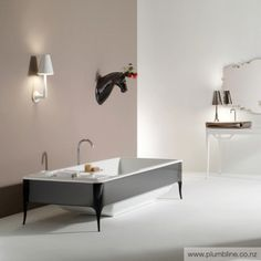 15 Awesome Art Deco Bathroom Designs : 15 Awesome Art Deco Bathroom Designs With Grey Minimalist Bathtub And Wall Mirror And Small Table Lamp And Glass Storage Design Best Bathroom Designs, Contemporary Bathroom Designs, Bathroom Furniture, Bathroom Interior, Furniture Sets, Art Deco Bathroom, Bathroom Bath, Bathroom Ideas, Art Deco Stil