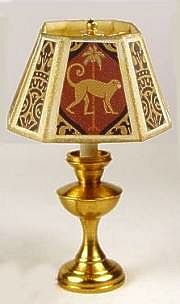 Table lamp - monkey shade - $22.00 : S P MINIATURES - hand crafted dollhouse scale miniatures, S P MINIATURES - shop online for dollhouse scale miniatures