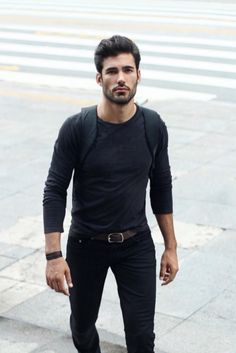 Dark clothes | love the stubble and haircut