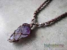 A healing crystal you can bring with you everywhere.  This hemp necklace was made with natural mix hemp cord in a spiral-knot style with an Amethyst crystal pendant.  The approximate hemp necklace length is 20 inches. It has an adjustable knot to close it so you can make it up to 28 inches long, depending on how you want to wear it!