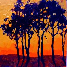 """SUNSET TREES"" 11046 by Carol Nelson Acrylic ~ 6 x 6"